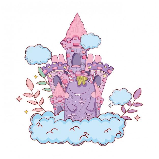 Monstro de conto de fadas com caráter de castelo Vetor Premium