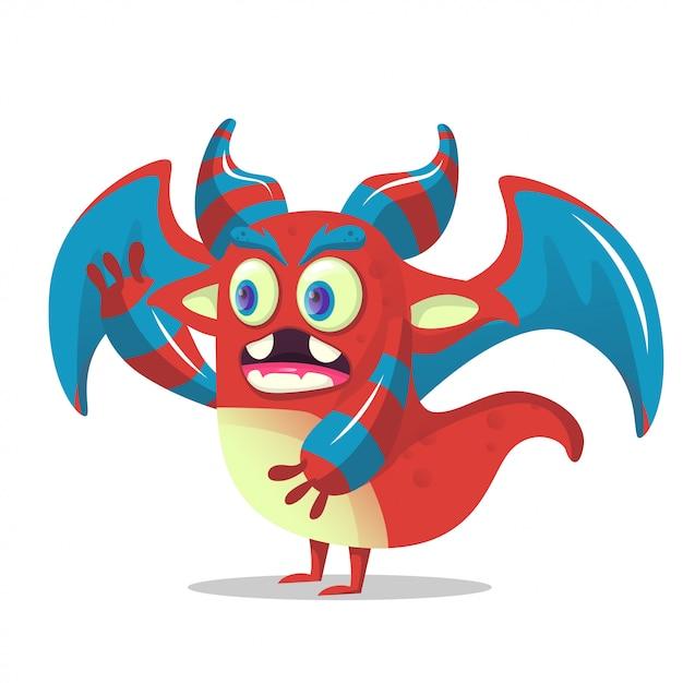 Monstro de dragão bonito dos desenhos animados para decoração de festa Vetor Premium