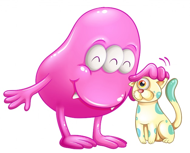 Monstro de gorro rosa com um gato de um olho Vetor grátis