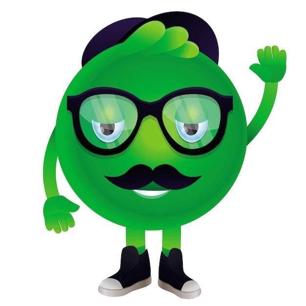 Monstro engraçado de vetor com bigode e óculos - personagem hipster Vetor Premium