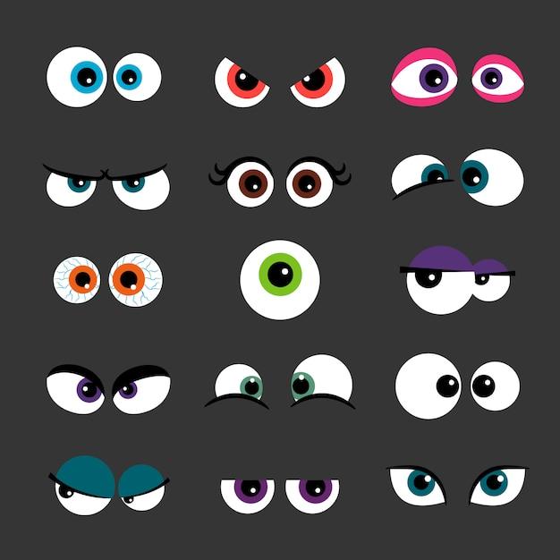 Monstro engraçado quadrinhos olhos isolados em cinza Vetor Premium