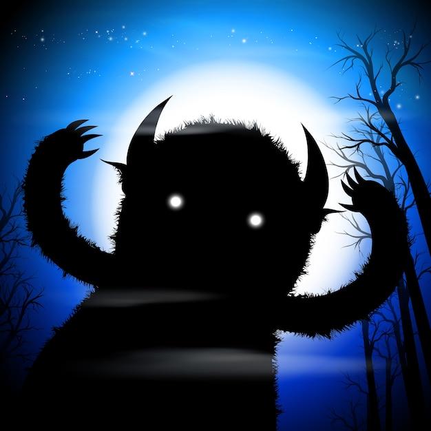 Monstro escuro Vetor Premium