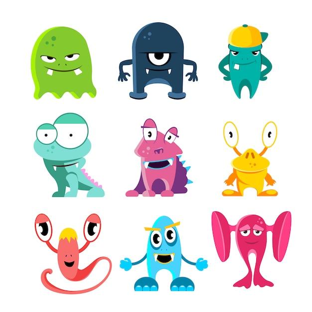 Monstros bonito dos desenhos animados Vetor Premium