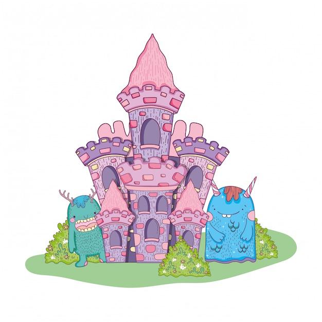 Monstros de conto de fadas no castelo Vetor Premium