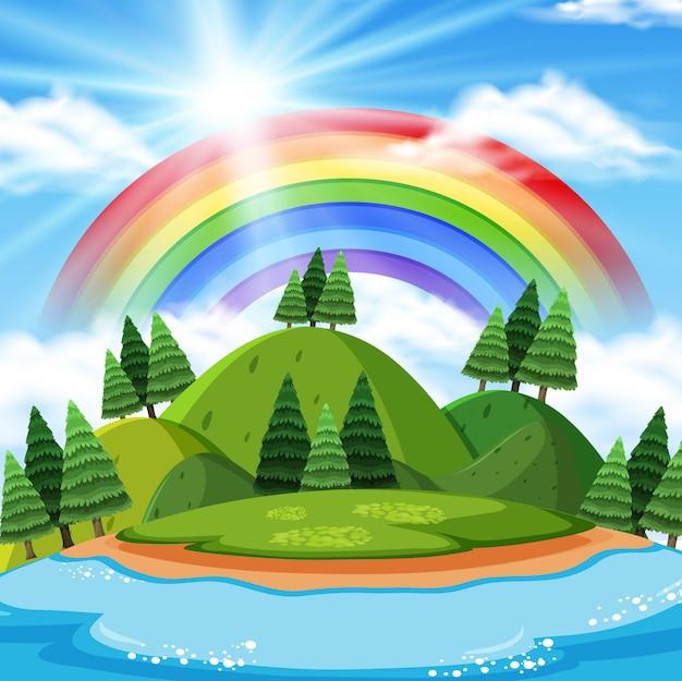 Montanha beautilful com fundo do arco-íris Vetor Premium