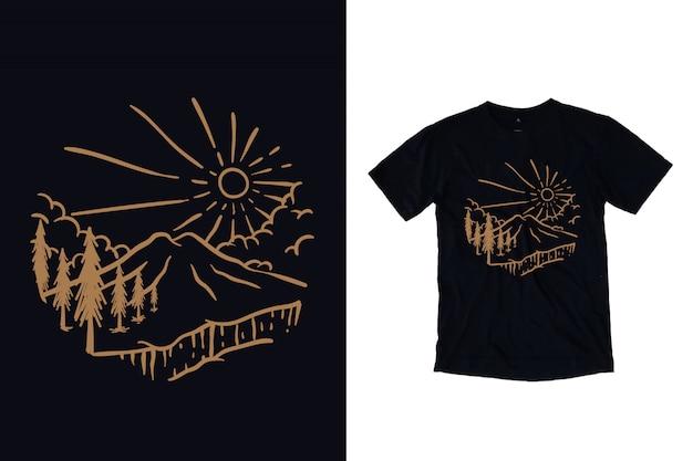 Montanha com ilustração de pinheiros para design de camiseta Vetor Premium