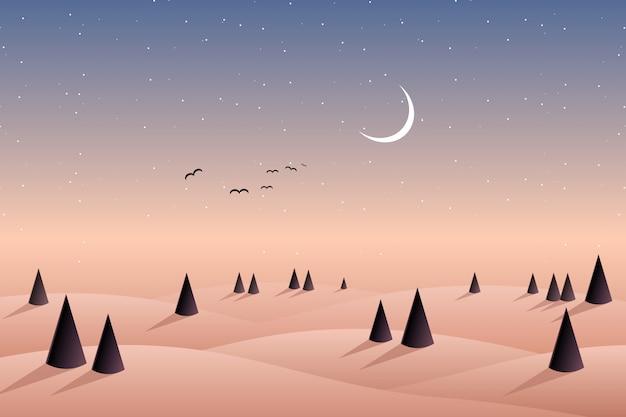 Montanha da colina de floresta de pinheiros e fundo do céu à noite Vetor Premium