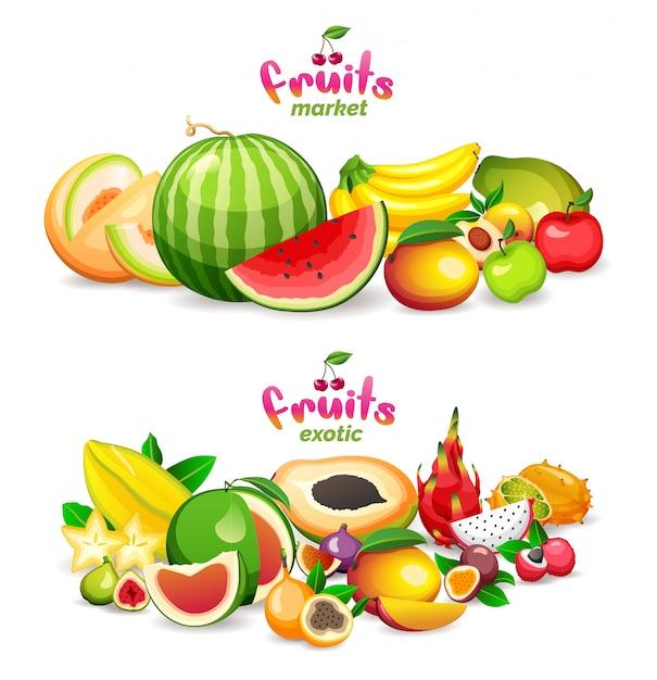 Montanha de frutas exóticas no fundo branco, logotipo da loja do mercado de frutas e bandeira. Vetor Premium