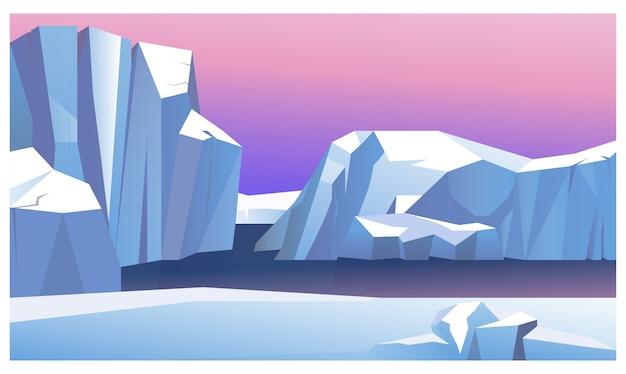 Montanha de gelo na ilustração de água Vetor grátis