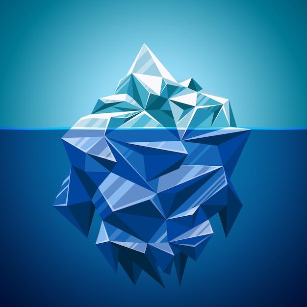 Montanha de iceberg de vetor de neve em estilo poligonal. água e mar, paisagem subaquática e antártica Vetor grátis