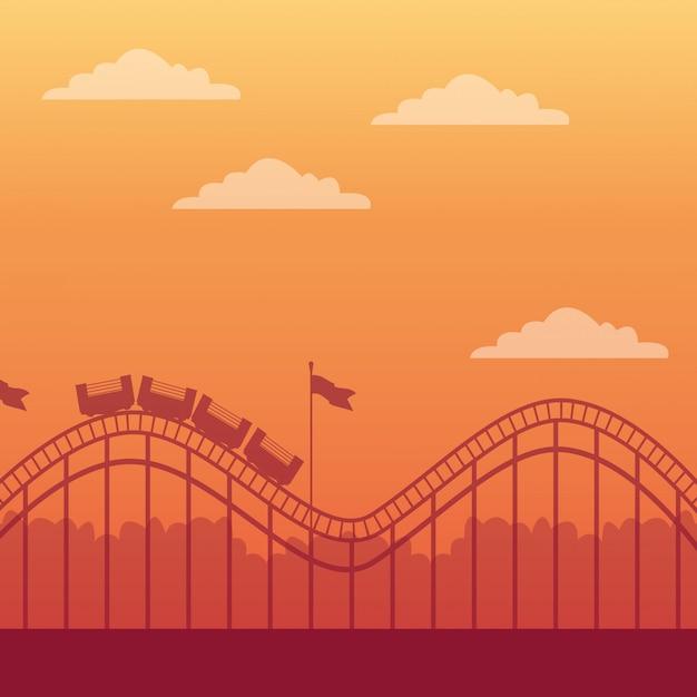 Montanha russa e parque de diversões Vetor grátis