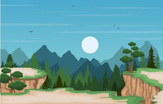 Montanha vale cliff tree natureza paisagem ilustração vetorial Vetor Premium