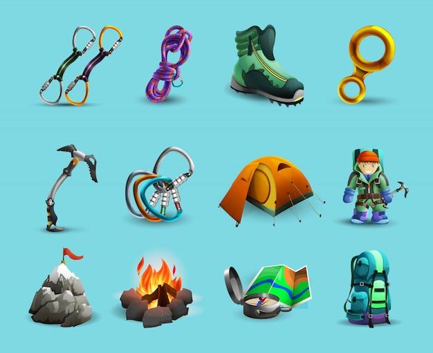 Montanhas alpinas, escalando, 3d, ícones, jogo Vetor grátis