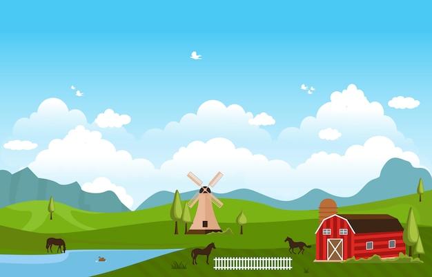 Montanhas colinas verde fazenda campo paisagem céu Vetor Premium