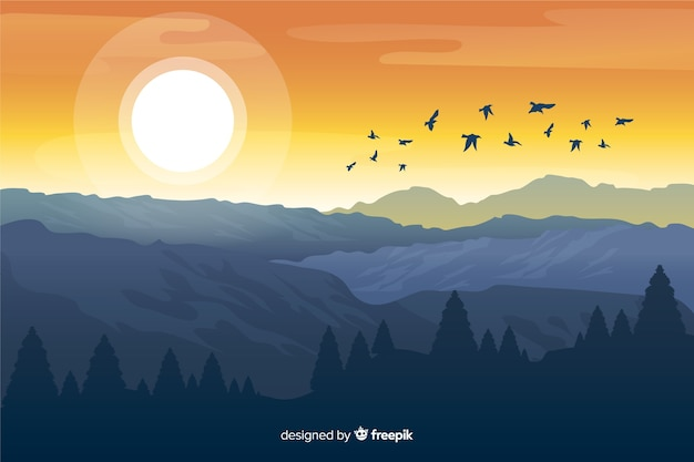 Montanhas com sol brilhante e pássaros voando Vetor grátis