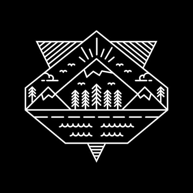 Montanhas de geometria Vetor Premium