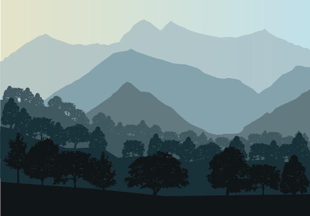 Montanhas e floresta paisagem cedo em uma luz do dia. Vetor Premium