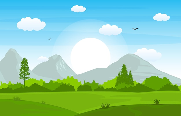 Montanhas hills green grass tree natureza paisagem céu Vetor Premium