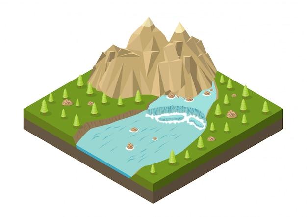 Montanhas isométricas com cascata, rio e árvores Vetor Premium