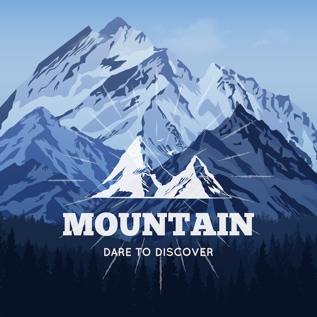 Montanhas no fundo do inverno Vetor grátis
