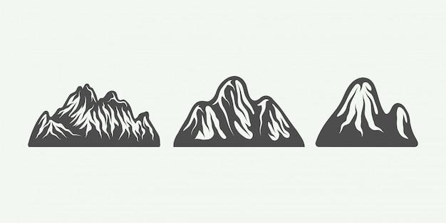 Montanhas retro vintage Vetor Premium