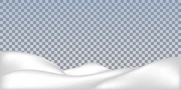 Monte de neve realista isolado. paisagem de neve. Vetor Premium
