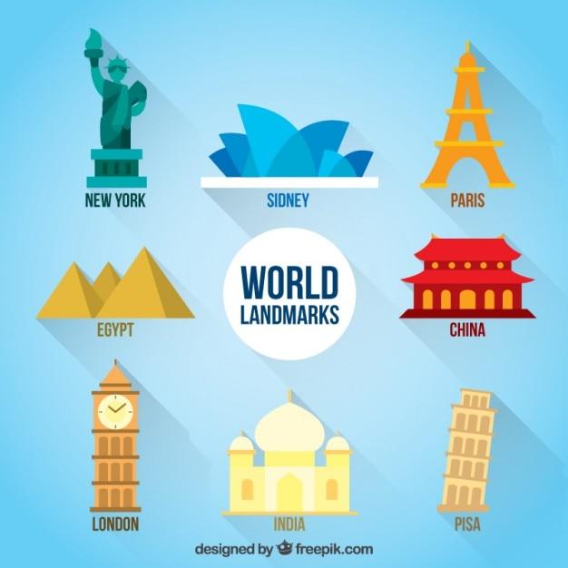 Monumentos belo mundo Vetor grátis
