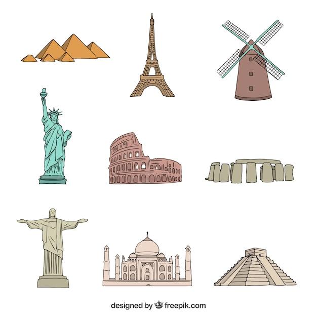 Monumentos de todo o mundo Vetor grátis