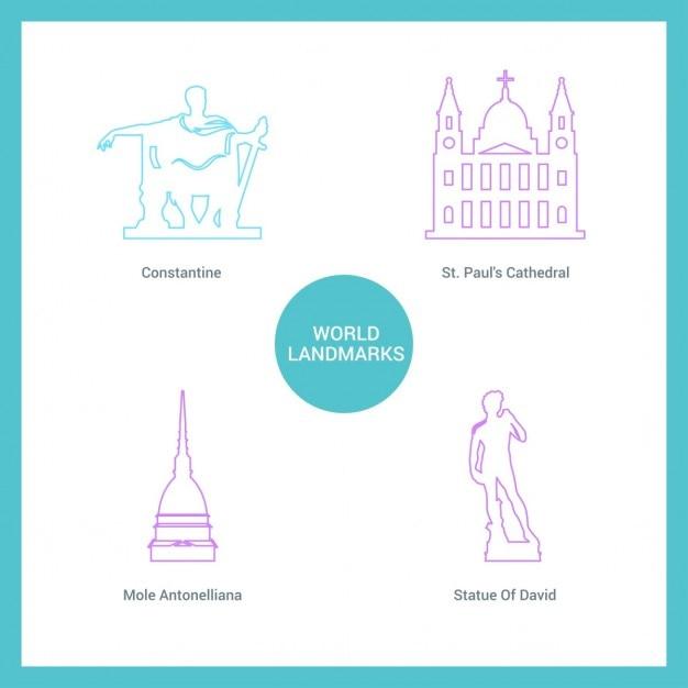 Monumentos desenhados com linhas Vetor grátis