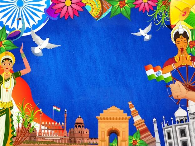 Monumentos indianos famosos Vetor Premium