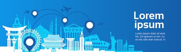 Monumentos, viagem, rota, planejando, conceito, avião, mosca, sobre, famosos, predios, modelo Vetor Premium