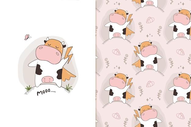 Moo super cow pattern Vetor Premium
