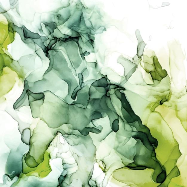 Moody green tons de fundo aquarela, líquido molhado, mão desenhada textura aquarela de vetor Vetor Premium