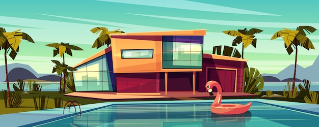 Moradia de luxo na costa, residência estrangeira no país exótico, mansão cara nos trópicos dos desenhos animados Vetor grátis
