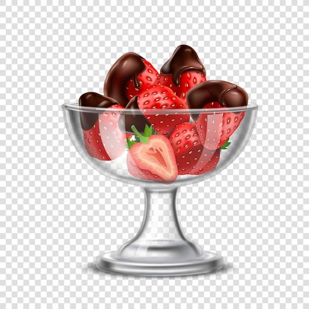 Morango realista na composição de chocolate Vetor grátis
