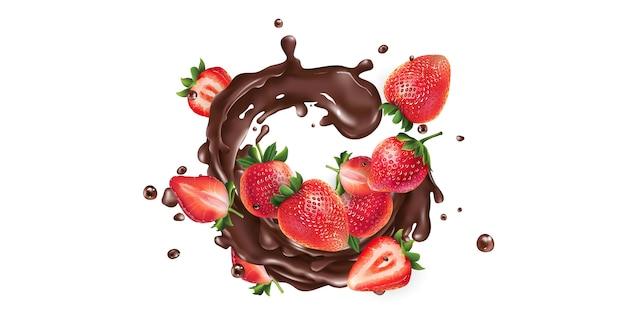 Morangos inteiros e fatiados em um respingo de chocolate em um fundo branco. ilustração realista. Vetor Premium