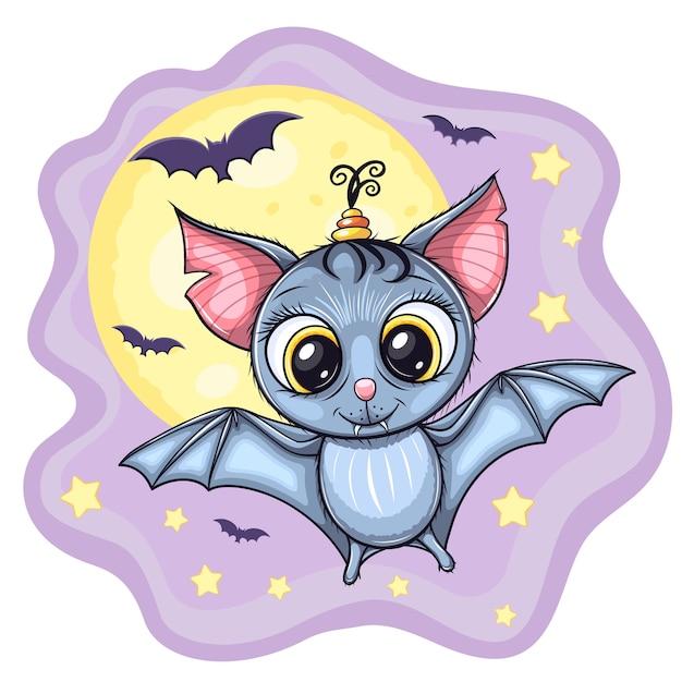 Morcego bebê voador fofo, com lua e estrelas no fundo Vetor Premium