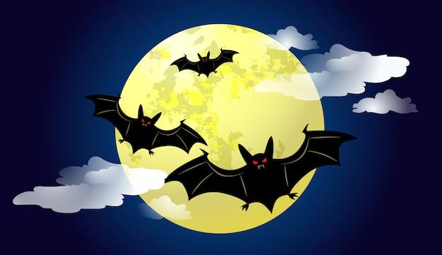 Morcegos voando contra o luar à noite ilustração Vetor grátis