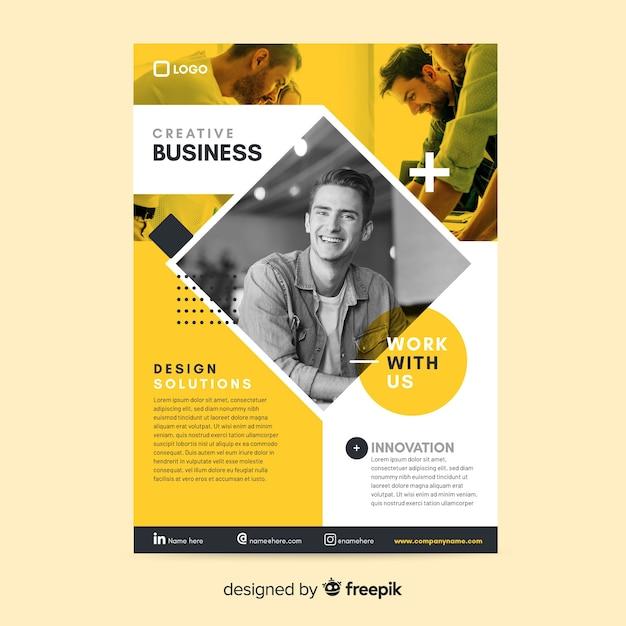 Mosaico de panfleto de negócios de modelo Vetor grátis