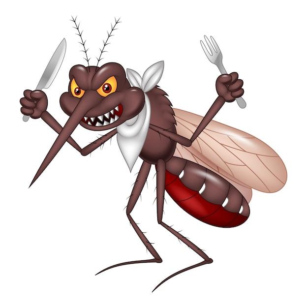 Mosquito dos desenhos animados pronto para comer Vetor Premium