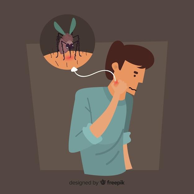 Mosquito mordendo uma pessoa com design plano Vetor grátis
