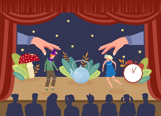 Mostra de fantoche simples do teatro, ilustração. atores de marionetes de desempenho no palco, mãos grandes puxando fios da cortina Vetor Premium