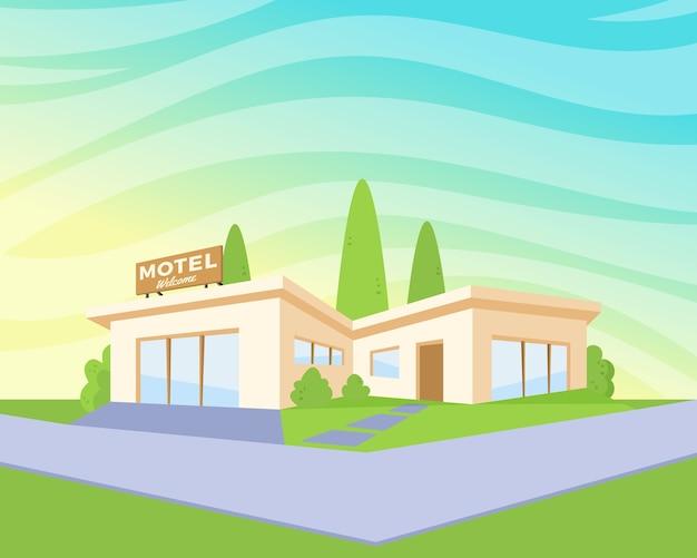 Motel de arquitetura com gramado verde e árvores. Vetor grátis