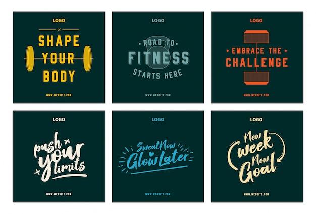 Motivação de fitness ginásio citações social media post set Vetor Premium