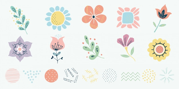 Motivo escandinavo de vetor, ervas e conjunto de flores Vetor Premium
