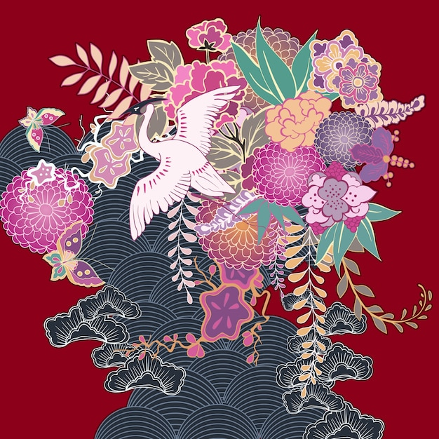 Motivo floral de quimono vintage Vetor grátis