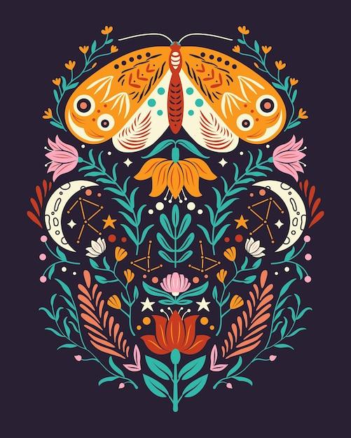 Motivos de primavera em estilo de arte popular. apartamento colorido com mariposa, flores, elementos florais e lua. Vetor Premium