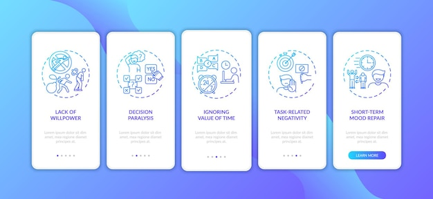 Motivos de procrastinação na tela da página do aplicativo móvel com conceitos Vetor Premium