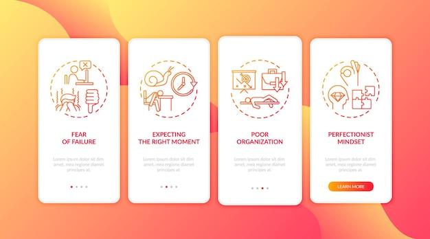 Motivos de procrastinação na tela da página do aplicativo móvel com ilustração de conceitos Vetor Premium