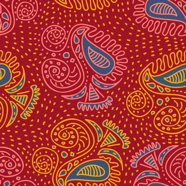 Motivos étnicos tribais asiáticos na moda mão desenhada padrão sem emenda Vetor Premium